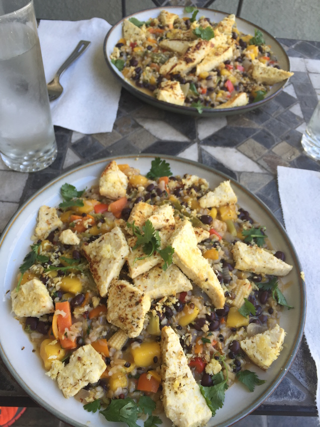 Coconut Crusted Tofu with Mango Bean Salad
